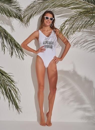 Morhipo Beach Slogan Detaylı Mayo Beyaz
